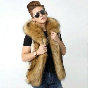 Urban Behaviour Beige Faux Fur Vest Hoodie Jacket